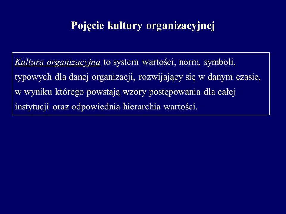 Pojęcie kultury organizacyjnej Kultura organizacyjna to system wartości, norm, symboli, typowych dla danej organizacji, rozwijający się w danym czasie, w wyniku którego powstają wzory postępowania dla całej instytucji oraz odpowiednia hierarchia wartości.