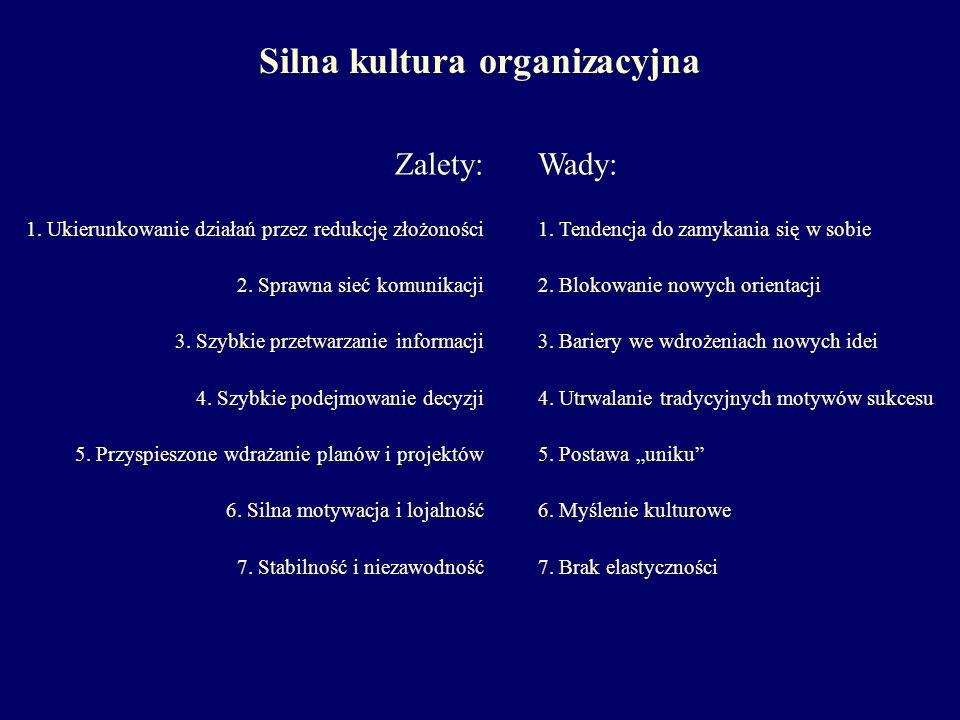 Silna kultura organizacyjna Zalety: 1.Ukierunkowanie działań przez redukcję złożoności 2.