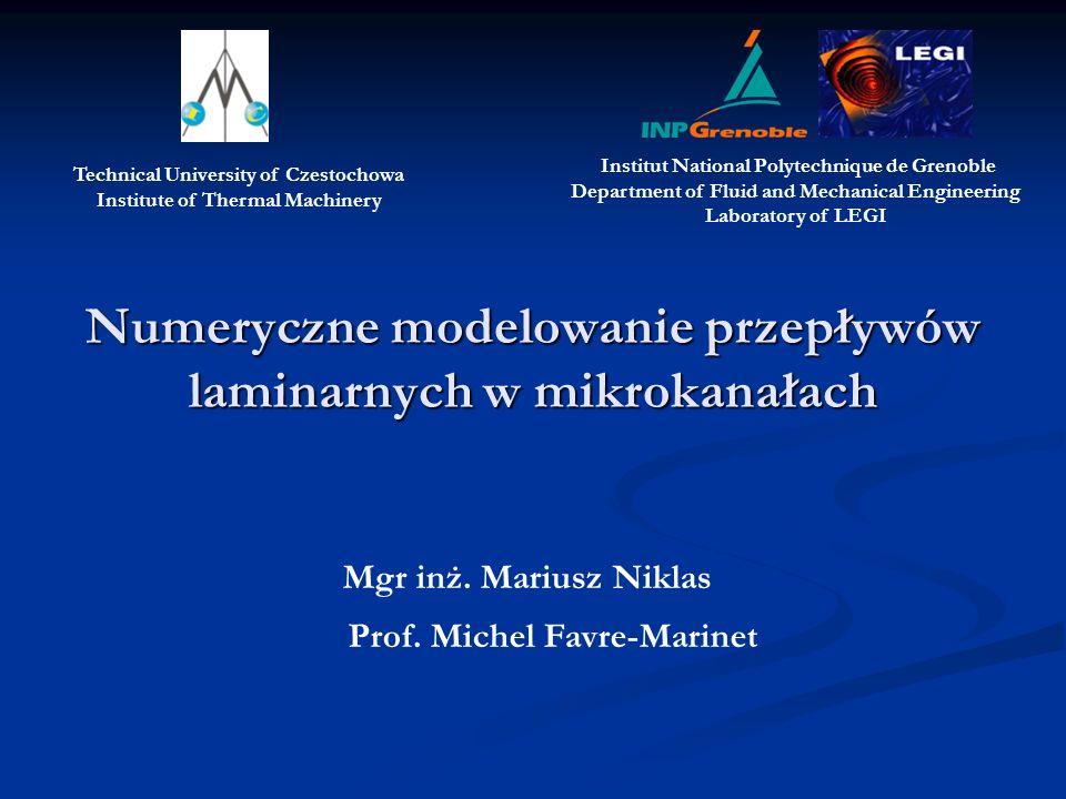 Numeryczne modelowanie przepływów laminarnych w mikrokanałach Mgr inż.