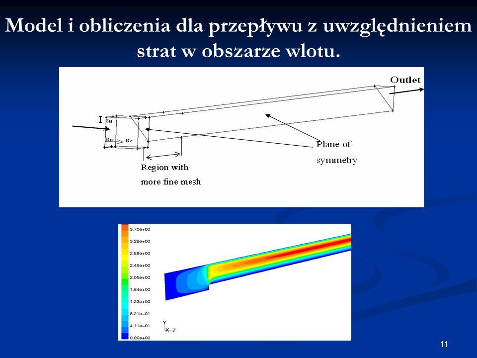 11 Model i obliczenia dla przepływu z uwzględnieniem strat w obszarze wlotu.