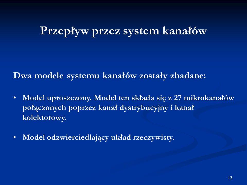 13 Przepływ przez system kanałów Dwa modele systemu kanałów zostały zbadane: Model uproszczony.