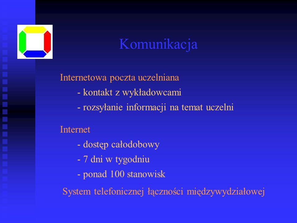 Komunikacja Internetowa poczta uczelniana Internet - kontakt z wykładowcami - rozsyłanie informacji na temat uczelni - dostęp całodobowy - 7 dni w tyg
