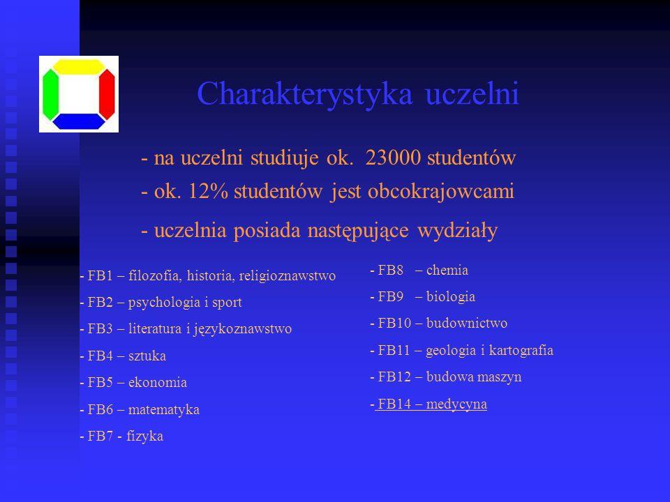 - na uczelni studiuje ok. 23000 studentów - ok. 12% studentów jest obcokrajowcami - uczelnia posiada następujące wydziały - FB1 – filozofia, historia,