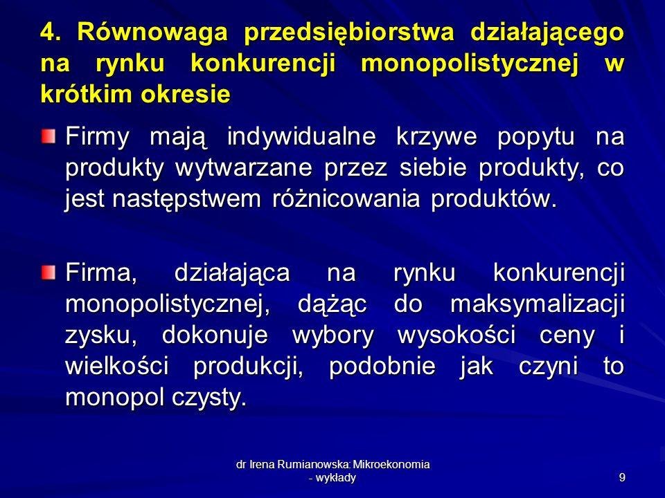 dr Irena Rumianowska: Mikroekonomia - wykłady 9 4. Równowaga przedsiębiorstwa działającego na rynku konkurencji monopolistycznej w krótkim okresie Fir