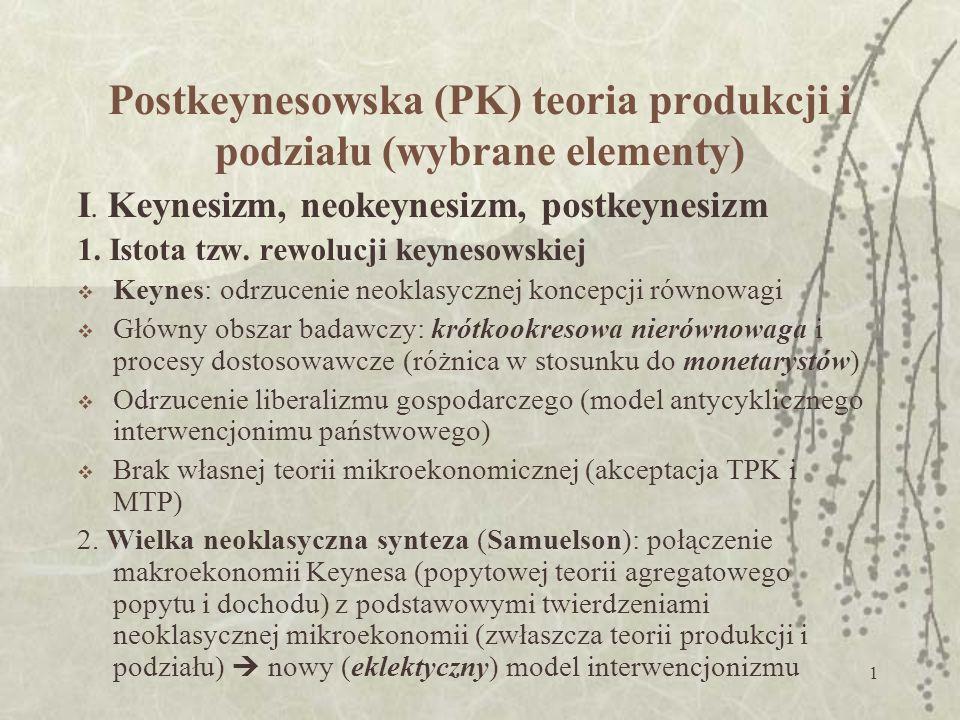 1 Postkeynesowska (PK) teoria produkcji i podziału (wybrane elementy) I.