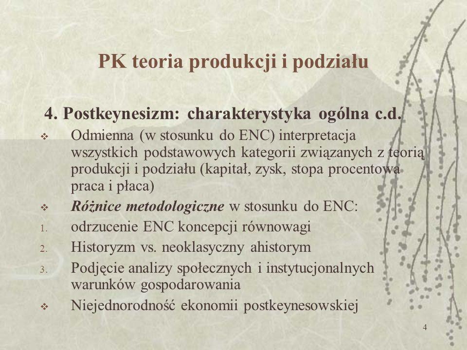 4 PK teoria produkcji i podziału 4.Postkeynesizm: charakterystyka ogólna c.d.