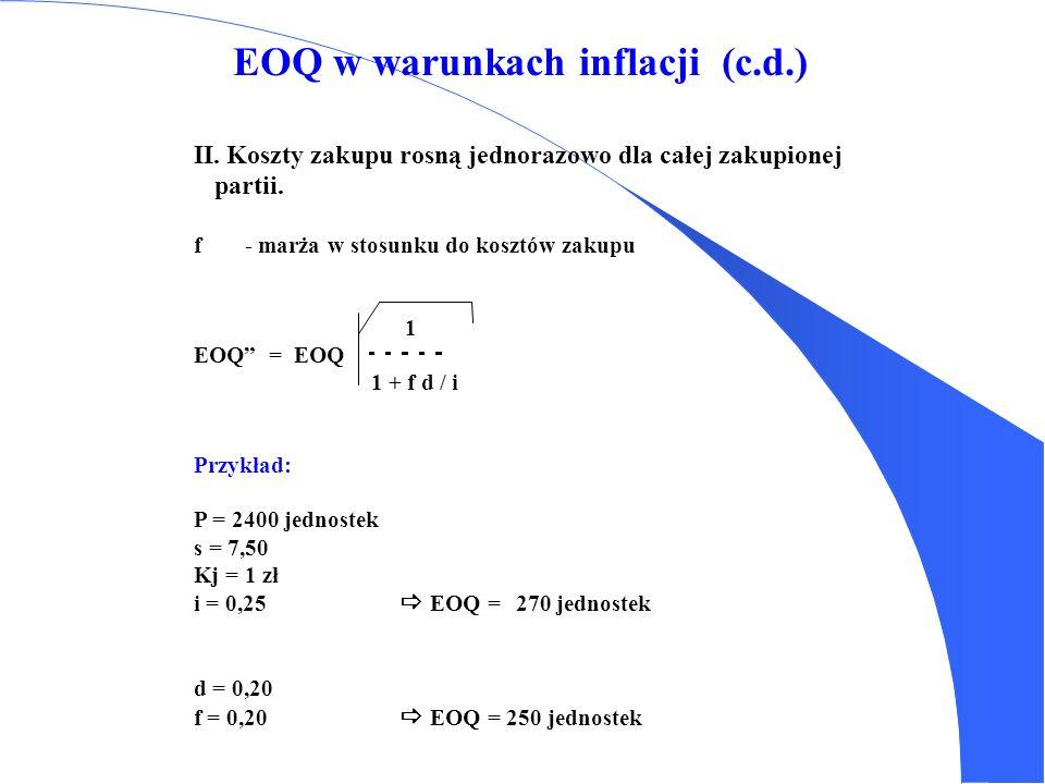 EOQ w warunkach inflacji d- stopa rocznej inflacji i- stopa rocznego kosztu utrzymania zapasów I. Ciągłe zmiany cen 2 P s 1 EOQ == EOQ Kj (i - d) 1 -
