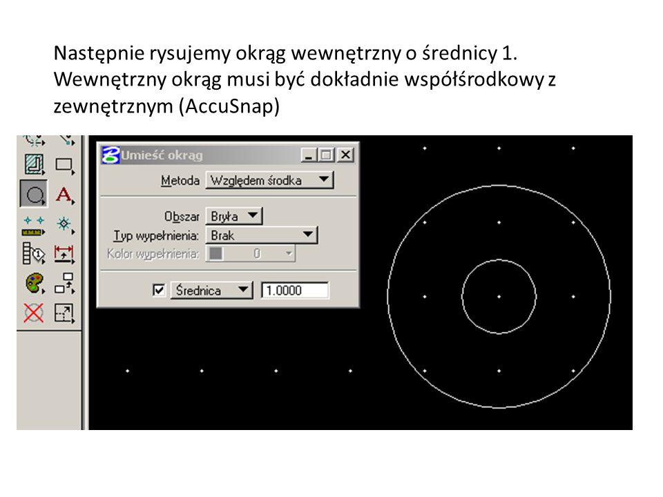 Następnie rysujemy okrąg wewnętrzny o średnicy 1.