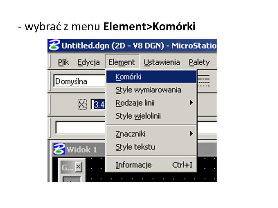 - wybrać z menu Element>Komórki