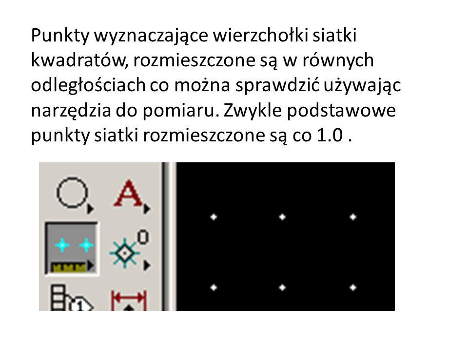 Punkty wyznaczające wierzchołki siatki kwadratów, rozmieszczone są w równych odległościach co można sprawdzić używając narzędzia do pomiaru.