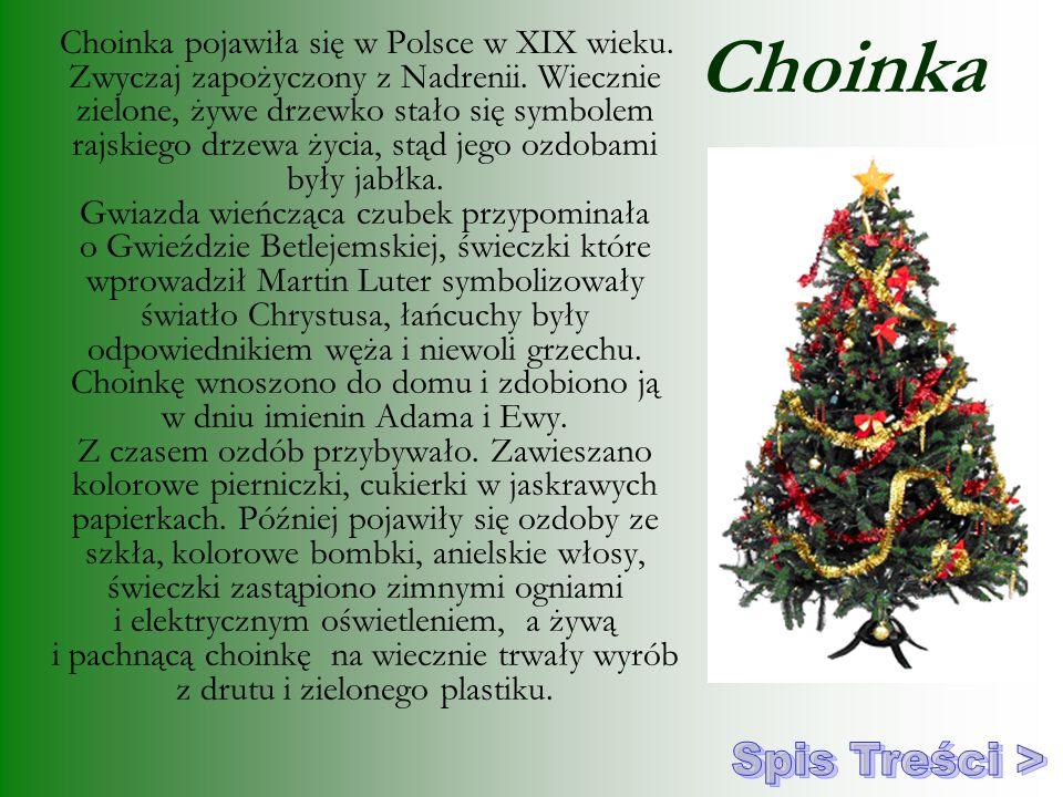 Choinka Choinka pojawiła się w Polsce w XIX wieku. Zwyczaj zapożyczony z Nadrenii. Wiecznie zielone, żywe drzewko stało się symbolem rajskiego drzewa