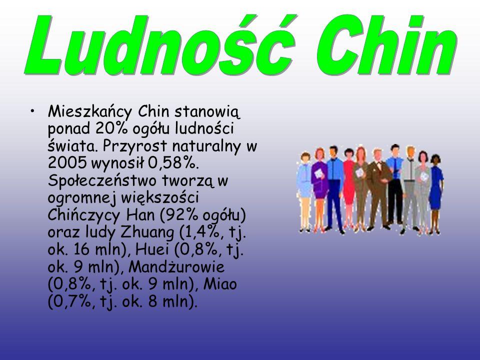 Mieszkańcy Chin stanowią ponad 20% ogółu ludności świata. Przyrost naturalny w 2005 wynosił 0,58%. Społeczeństwo tworzą w ogromnej większości Chińczyc