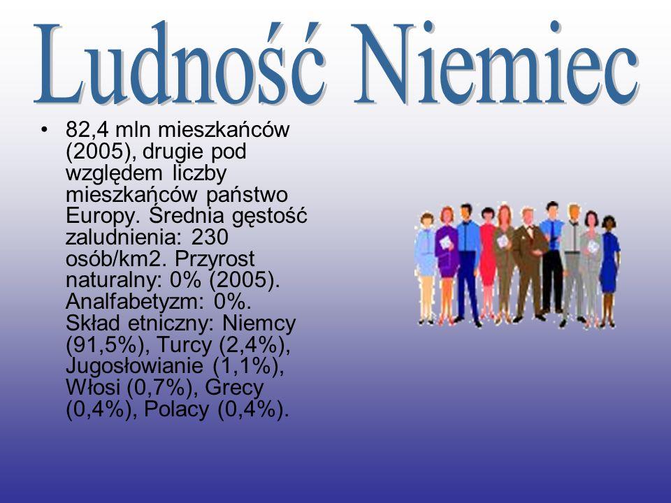 82,4 mln mieszkańców (2005), drugie pod względem liczby mieszkańców państwo Europy. Średnia gęstość zaludnienia: 230 osób/km2. Przyrost naturalny: 0%