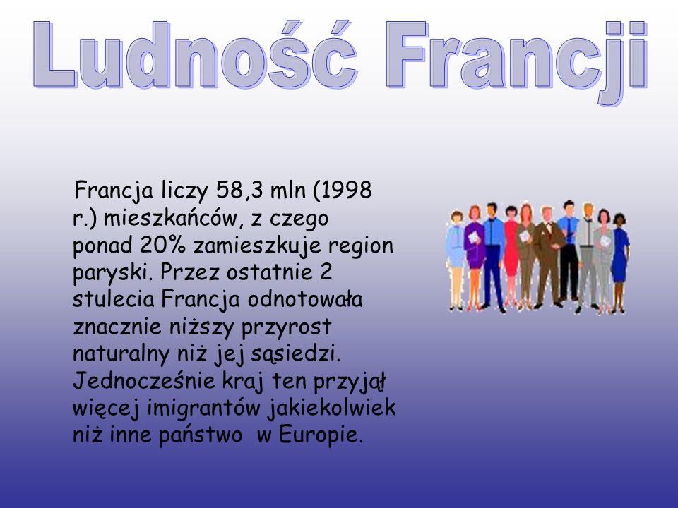 Francja liczy 58,3 mln (1998 r.) mieszkańców, z czego ponad 20% zamieszkuje region paryski. Przez ostatnie 2 stulecia Francja odnotowała znacznie niżs
