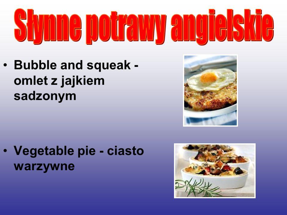 Bubble and squeak - omlet z jajkiem sadzonym Vegetable pie - ciasto warzywne