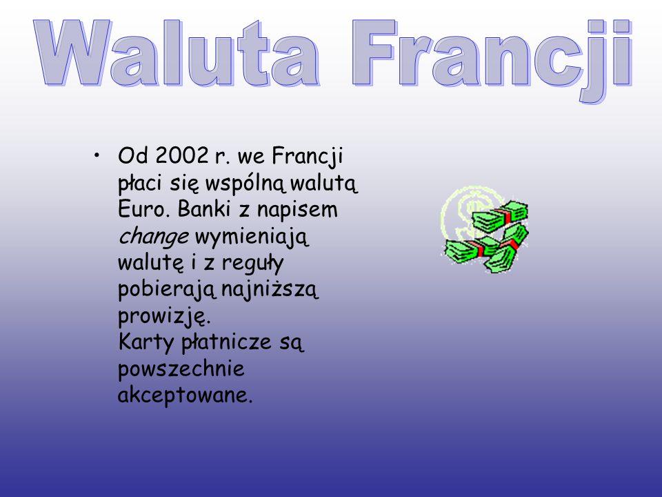 Od 2002 r. we Francji płaci się wspólną walutą Euro. Banki z napisem change wymieniają walutę i z reguły pobierają najniższą prowizję. Karty płatnicze