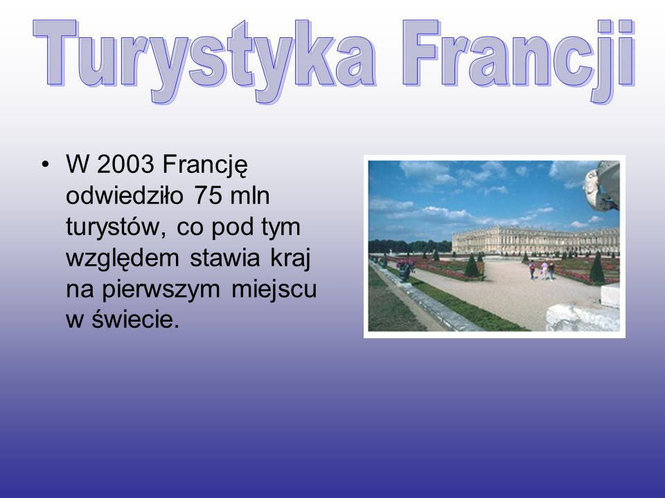 W 2003 Francję odwiedziło 75 mln turystów, co pod tym względem stawia kraj na pierwszym miejscu w świecie.