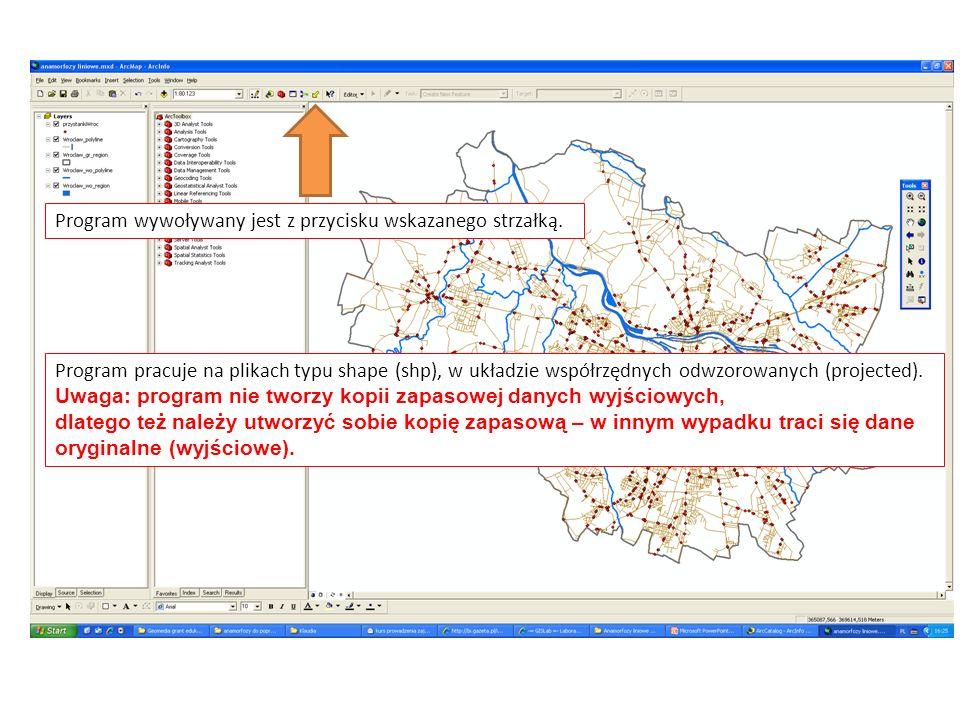 Program wywoływany jest z przycisku wskazanego strzałką. Program pracuje na plikach typu shape (shp), w układzie współrzędnych odwzorowanych (projecte