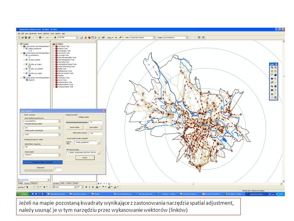 Jeżeli na mapie pozostaną kwadraty wynikające z zastosowania narzędzia spatial adjustment, należy usunąć je w tym narzędziu przez wykasowanie wektorów