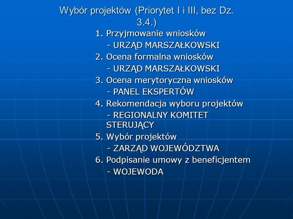 Wybór projektów (Priorytet I i III, bez Dz. 3.4.) 1. Przyjmowanie wniosków - URZĄD MARSZAŁKOWSKI - URZĄD MARSZAŁKOWSKI 2. Ocena formalna wniosków - UR