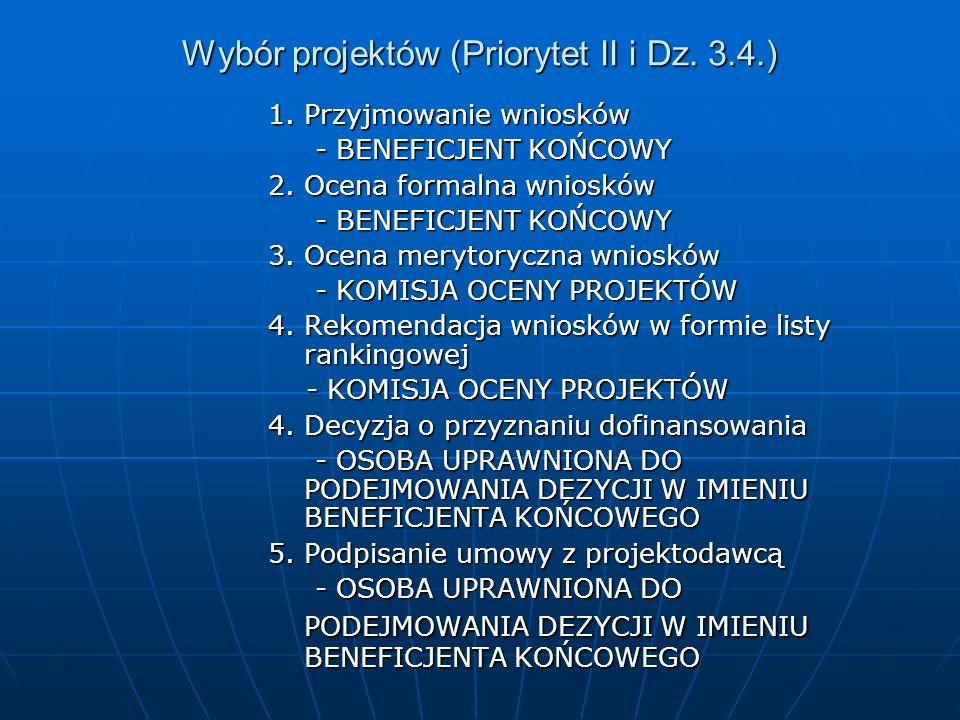 Wybór projektów (Priorytet II i Dz. 3.4.) 1. Przyjmowanie wniosków - BENEFICJENT KOŃCOWY - BENEFICJENT KOŃCOWY 2. Ocena formalna wniosków - BENEFICJEN