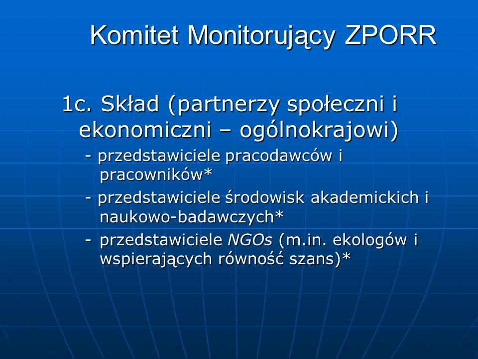 Komitet Monitorujący ZPORR 1c. Skład (partnerzy społeczni i ekonomiczni – ogólnokrajowi) - przedstawiciele pracodawców i pracowników* - przedstawiciel