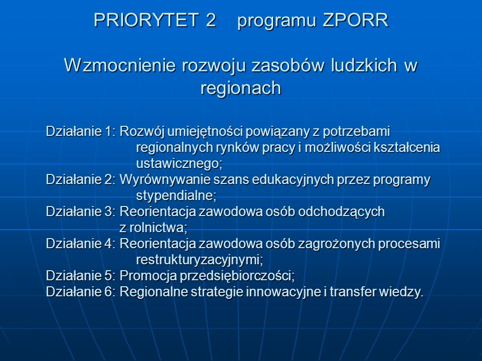 PRIORYTET 3 Rozwój Lokalny Działanie 1: Obszary wiejskie; Działanie 2: Obszary podlegające restrukturyzacji; Działanie 3: Zdegradowane obszary miejskie, poprzemysłowe i powojskowe; i powojskowe; Działanie 4: Mikroprzedsiębiorstwa; Działanie 5: Lokalna infrastruktura społeczna 5.1 – Infrastruktura edukacyjna 5.2 – Infrastruktura zdrowia 5.3 - Sport.