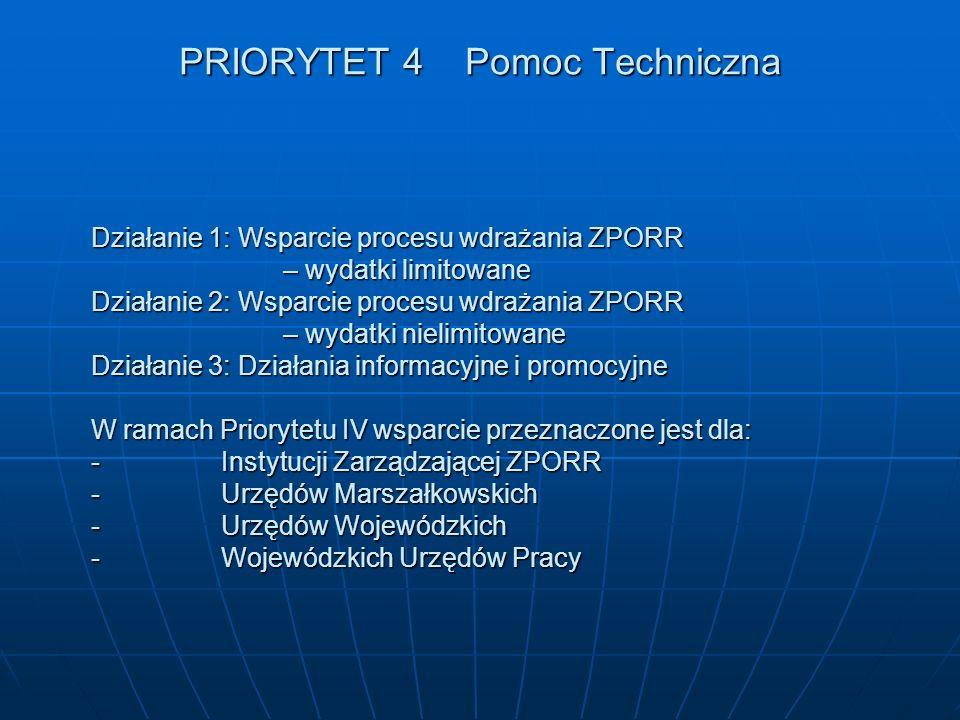 PRIORYTET 4 Pomoc Techniczna Działanie 1: Wsparcie procesu wdrażania ZPORR – wydatki limitowane Działanie 2: Wsparcie procesu wdrażania ZPORR – wydatk