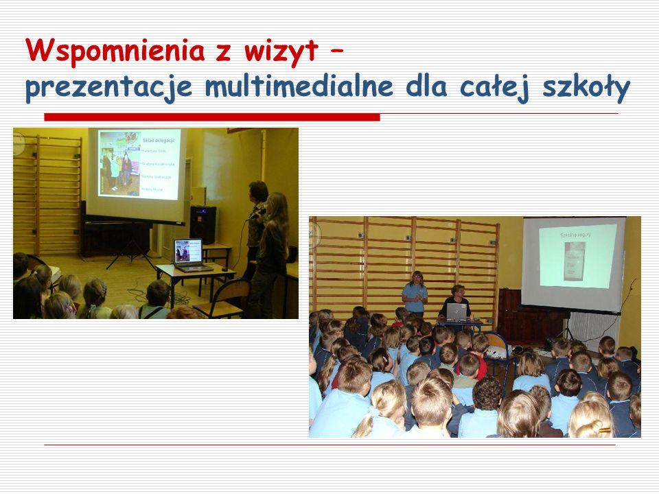 Wspomnienia z wizyt – prezentacje multimedialne dla całej szkoły