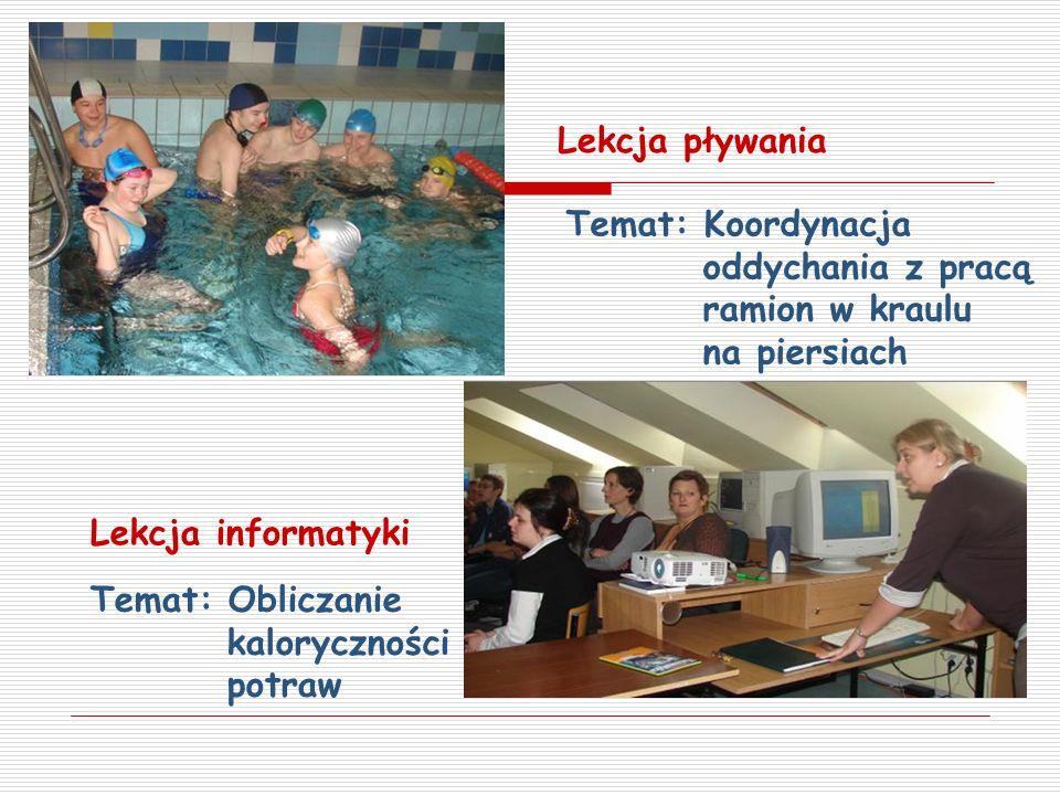 Lekcja pływania Lekcja informatyki Temat: Obliczanie kaloryczności potraw Temat: Koordynacja oddychania z pracą ramion w kraulu na piersiach
