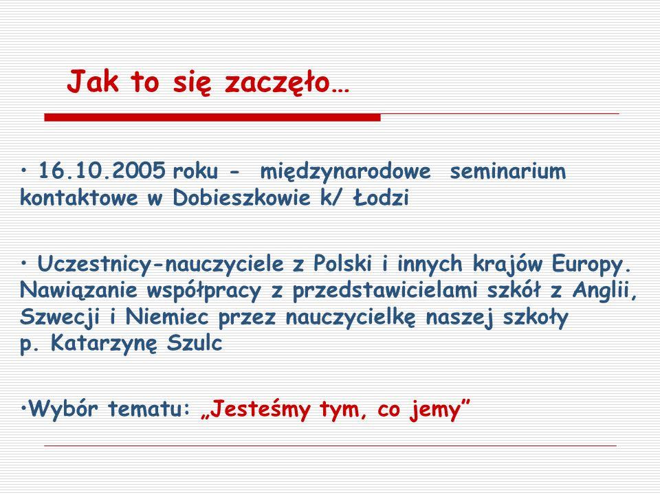 16.10.2005 roku - międzynarodowe seminarium kontaktowe w Dobieszkowie k/ Łodzi Uczestnicy-nauczyciele z Polski i innych krajów Europy. Nawiązanie wspó