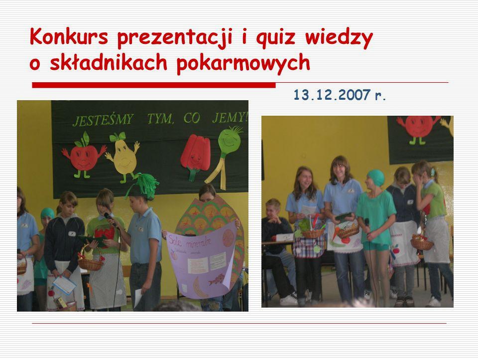 Konkurs prezentacji i quiz wiedzy o składnikach pokarmowych 13.12.2007 r.