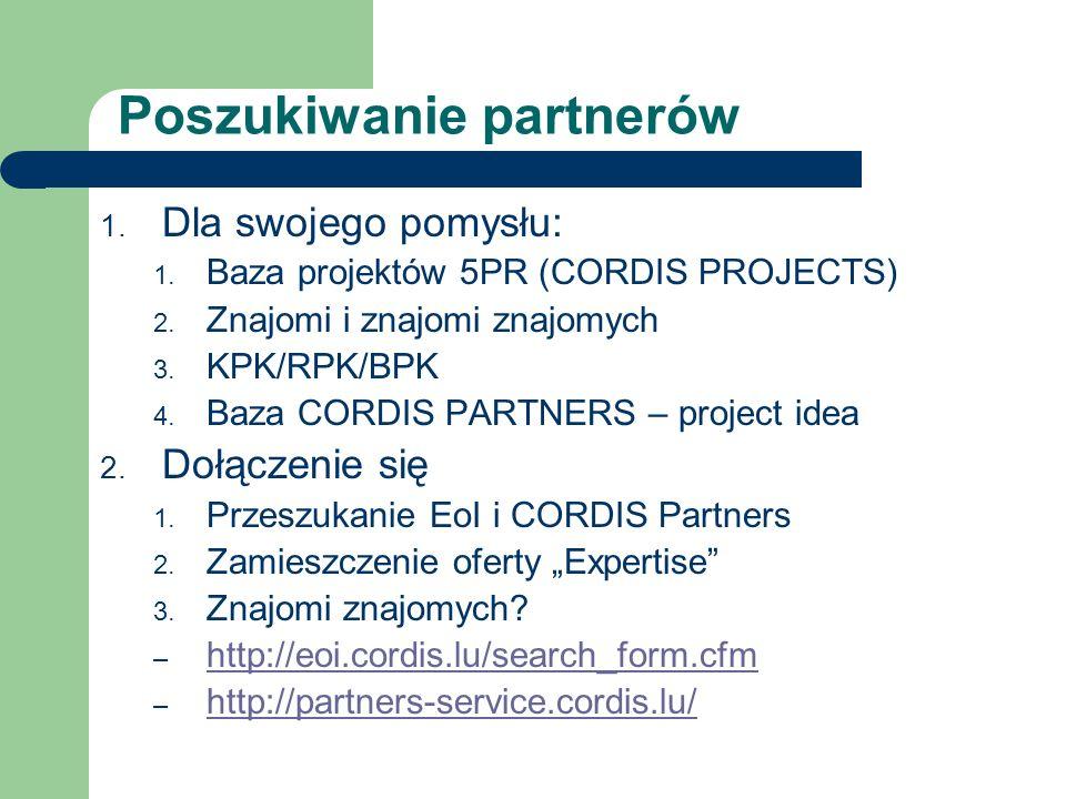 Poszukiwanie partnerów 1. Dla swojego pomysłu: 1. Baza projektów 5PR (CORDIS PROJECTS) 2. Znajomi i znajomi znajomych 3. KPK/RPK/BPK 4. Baza CORDIS PA