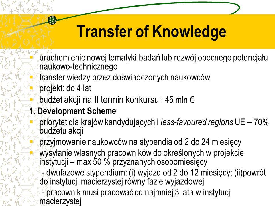 uruchomienie nowej tematyki badań lub rozwój obecnego potencjału naukowo-technicznego transfer wiedzy przez doświadczonych naukowców projekt: do 4 lat budżet akcji na II termin konkursu : 45 mln 1.
