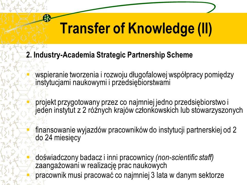 2. Industry-Academia Strategic Partnership Scheme wspieranie tworzenia i rozwoju długofalowej współpracy pomiędzy instytucjami naukowymi i przedsiębio