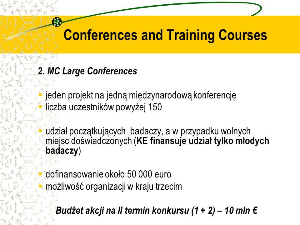 2. MC Large Conferences jeden projekt na jedną międzynarodową konferencję liczba uczestników powyżej 150 udział początkujących badaczy, a w przypadku