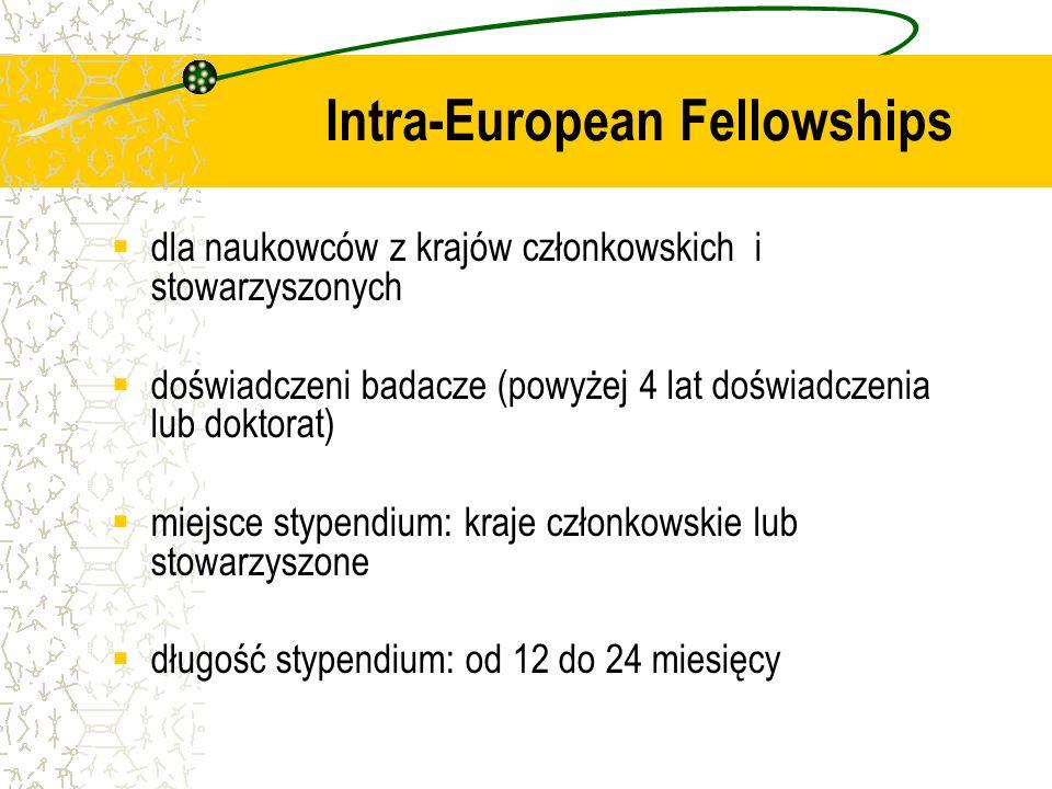 dla naukowców z krajów członkowskich i stowarzyszonych doświadczeni badacze (powyżej 4 lat doświadczenia lub doktorat) miejsce stypendium: kraje członkowskie lub stowarzyszone długość stypendium: od 12 do 24 miesięcy Intra-European Fellowships