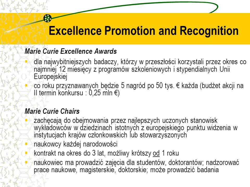 Marie Curie Excellence Awards dla najwybitniejszych badaczy, którzy w przeszłości korzystali przez okres co najmniej 12 miesięcy z programów szkoleniowych i stypendialnych Unii Europejskiej co roku przyznawanych będzie 5 nagród po 50 tys.
