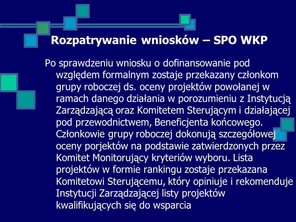 Rozpatrywanie wniosków – SPO WKP Po sprawdzeniu wniosku o dofinansowanie pod względem formalnym zostaje przekazany członkom grupy roboczej ds.