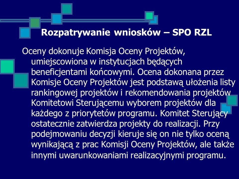 Rozpatrywanie wniosków – SPO RZL Oceny dokonuje Komisja Oceny Projektów, umiejscowiona w instytucjach będących beneficjentami końcowymi.