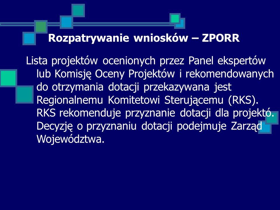 Rozpatrywanie wniosków – ZPORR Lista projektów ocenionych przez Panel ekspertów lub Komisję Oceny Projektów i rekomendowanych do otrzymania dotacji przekazywana jest Regionalnemu Komitetowi Sterującemu (RKS).