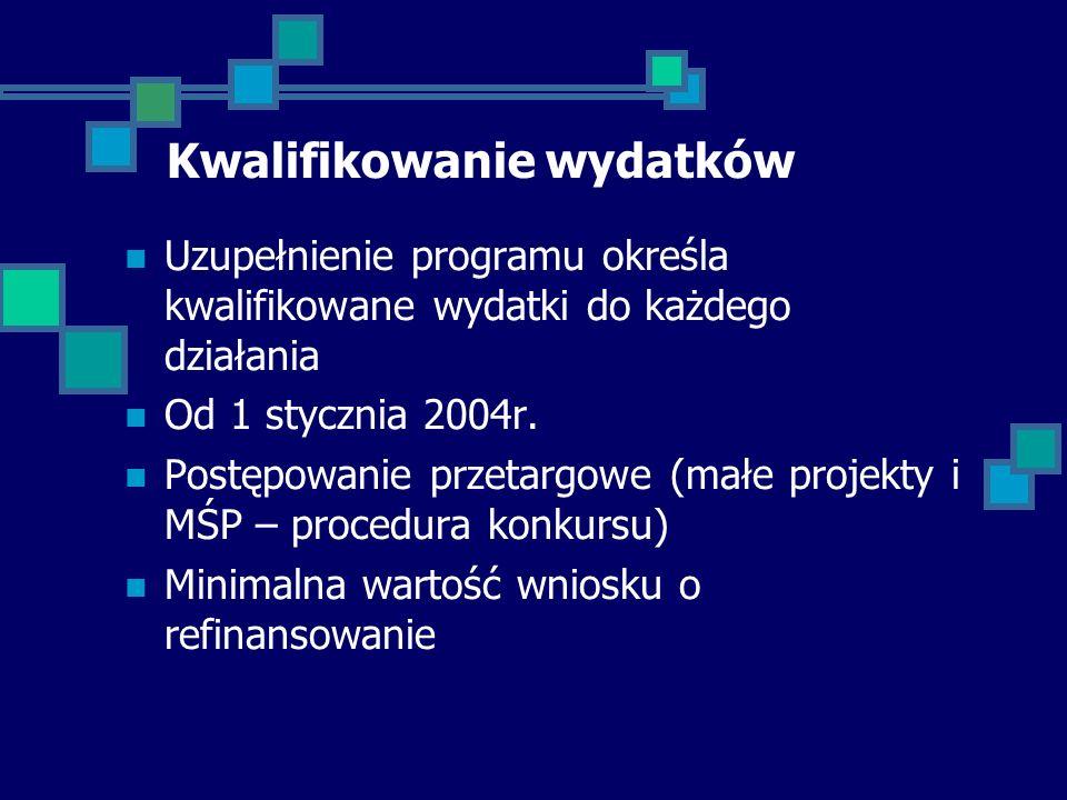 Kwalifikowanie wydatków Uzupełnienie programu określa kwalifikowane wydatki do każdego działania Od 1 stycznia 2004r.