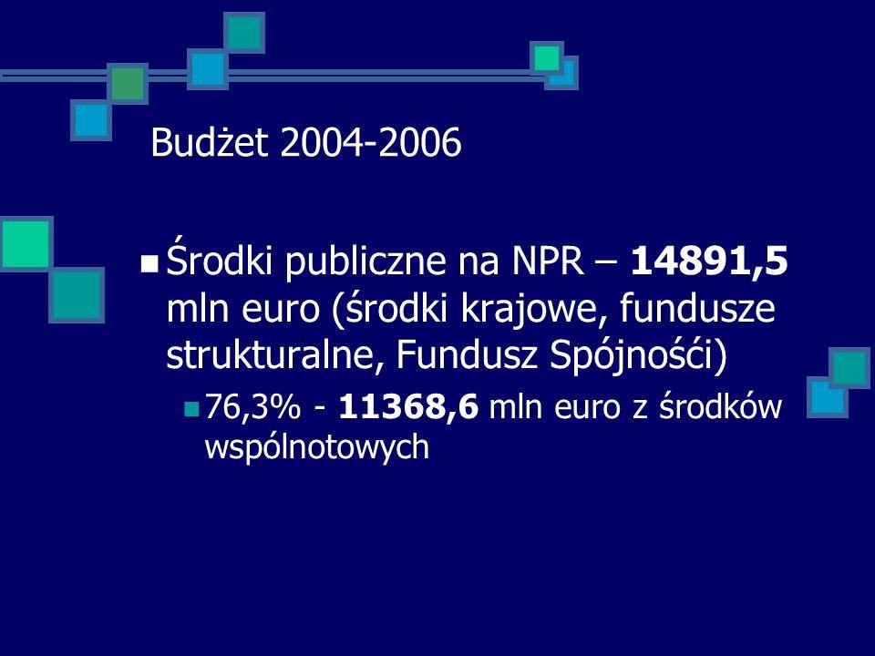 Budżet 2004-2006 Środki publiczne na NPR – 14891,5 mln euro (środki krajowe, fundusze strukturalne, Fundusz Spójnośći) 76,3% - 11368,6 mln euro z środków wspólnotowych