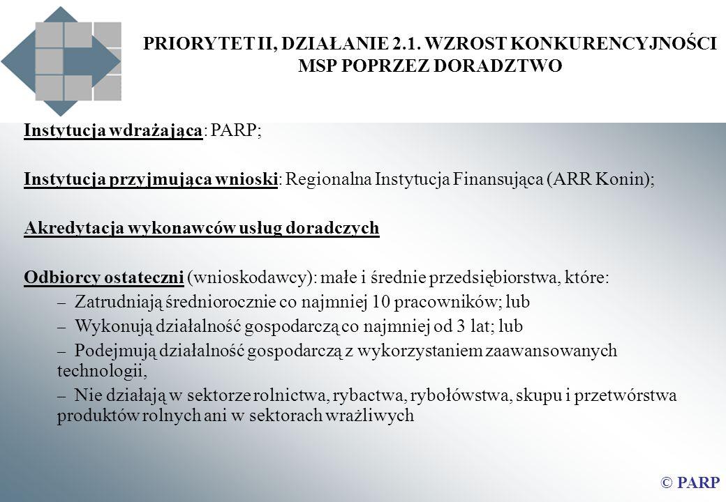 PRIORYTET II, DZIAŁANIE 2.1. WZROST KONKURENCYJNOŚCI MSP POPRZEZ DORADZTWO Instytucja wdrażająca: PARP; Instytucja przyjmująca wnioski: Regionalna Ins