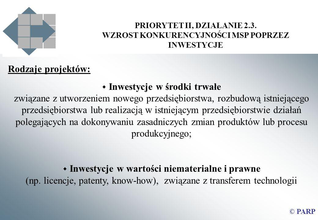 PRIORYTET II, DZIAŁANIE 2.3. WZROST KONKURENCYJNOŚCI MSP POPRZEZ INWESTYCJE © PARP Rodzaje projektów: Inwestycje w środki trwałe związane z utworzenie