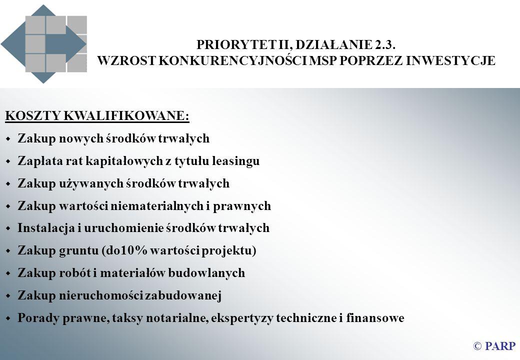 PRIORYTET II, DZIAŁANIE 2.3. WZROST KONKURENCYJNOŚCI MSP POPRZEZ INWESTYCJE © PARP KOSZTY KWALIFIKOWANE: Zakup nowych środków trwałych Zapłata rat kap