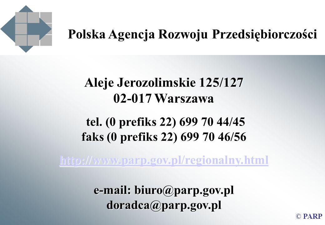 Aleje Jerozolimskie 125/127 02-017 Warszawa tel. (0 prefiks 22) 699 70 44/45 faks (0 prefiks 22) 699 70 46/56 http://www.parp.gov.pl/regionalny.html h