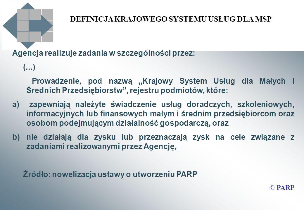 DEFINICJA KRAJOWEGO SYSTEMU USŁUG DLA MSP Agencja realizuje zadania w szczególności przez: (...) Prowadzenie, pod nazwą Krajowy System Usług dla Małyc