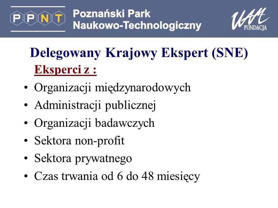 Delegowany Krajowy Ekspert (SNE) Eksperci z : Organizacji międzynarodowych Administracji publicznej Organizacji badawczych Sektora non-profit Sektora prywatnego Czas trwania od 6 do 48 miesięcy