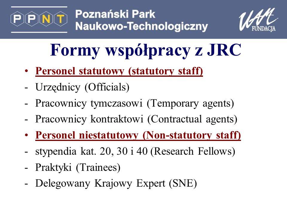 Formy współpracy z JRC Personel statutowy (statutory staff) -Urzędnicy (Officials) -Pracownicy tymczasowi (Temporary agents) -Pracownicy kontraktowi (Contractual agents) Personel niestatutowy (Non-statutory staff) -stypendia kat.